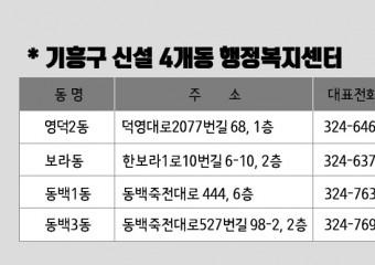 분동 신설 기흥구 4개동 20일 업무 시작